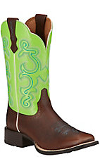 Ariat Quickdraw Women's Scratched Chestnut with Bright Lime Top Square Toe Western Boots