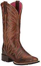 Ariat Brilliance Women's Sassy Brown w/ Fancy Stitching Square Toe Western Boots