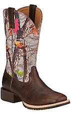 Ariat Hybrid Rancher Women's Wicker Brown with Hot Leaf Camo Top Square Toe Western Boots