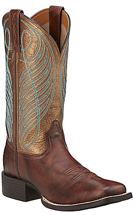 Ariat Round Up Women's Yukon Brown with Bronze Top Double Welt Square Toe Western Boots