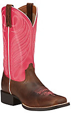 Ariat Round Up Women's Wicker Brown with Hot Pink Top Double Welt Square Toe Western Boots