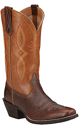 Ariat Round Up II Women's Textured Acorn with Tan Top Punchy Square Toe Western Boots