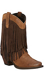 Ariat Gold Rush Women's Antique Mocha with Chestnut Fringe Upper Snip Toe Western Boots