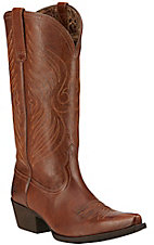 Ariat Round Up Women's Wood Brown Snip Toe Western Boots