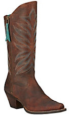 Ariat Fanfare Women's Marbled Mahogany Snip Toe Western Boots