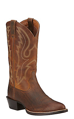 Ariat Men's Sport Earth Brown and Sable R-Toe Western Boot