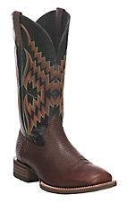 Ariat Men's Brown with Black Upper and Aztec Embroidery Western Square Toe Boots