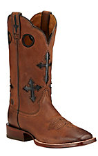 Ariat Ranchero Men's Whiskey Brown with Black Crosses Double Welt Square Toe Western Boot