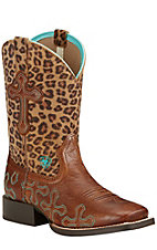 Ariat Crossroads Youth Wood Distressed Brown with Cheetah Top Square Toe Western Boots