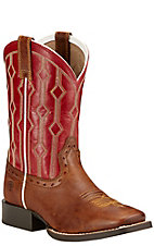 Ariat Live Wire Youth Wood Brown with Mega Red Top Square Toe Western Boots