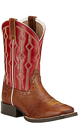 Ariat Youth Live Wire Wood Brown with Mega Red Top Square Toe Western Boots