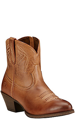 Ariat Women's Darlin Burnt Sugar Leather Round Toe Western Booties