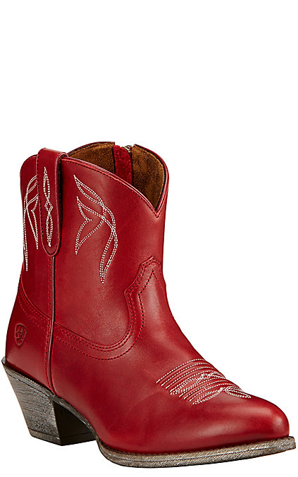 Ariat Darlin Women's Rosy Red Leather Round Toe Western Booties