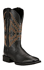 Ariat Men's Black Deertan Tycoon Double Welt Square Toe Western Boots