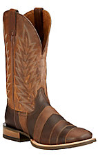 Ariat Qualifier Men's Desert Brown & Taupe Stripe Double Welt Square Toe Western Boot
