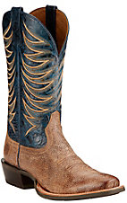Ariat Crosswire Men's Quicksand with Estate Blue Top Punchy Square Toe Western Boots