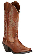 Ariat Round Up Women's Maddox Wood Brown Snip Toe Western Boots
