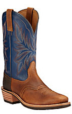 Ariat Heritage Saddleback Men's Copper Kettle with Navy Top Punchy Square Toe Western Boots