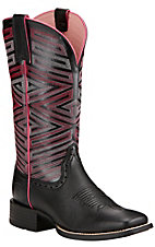 Ariat Outsider Women's Black Deertan Double Stitched Welt Square Toe Western Boots