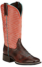 Ariat Outsider Women's Yukon Brown with Fiery Red Top Double Stitched Welt Square Toe Western Boots