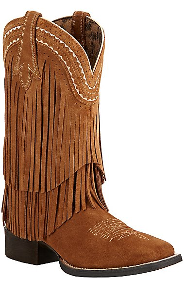 Ariat Fringe Women\'s Powder Brown Suede Double Welt Square Toe ...