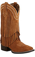Ariat Fringe Women's Powder Brown Suede Double Welt Square Toe Western Boots