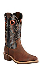 Ariat Heritage Roughstock Men's Brown with Black Top Square Toe Western Boots