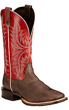 Ariat Cowhand Men's Murky Brown with Red Top Double Welt Square Toe Western Boots