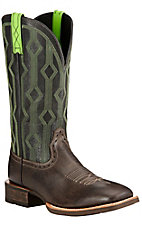 Ariat Live Wire Men's Chocolate with Vintage Black Double Welt Square Toe Western Boots