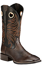 Ariat Sport Rider Men's Chocolate Brown with Black Top Double Welt Square Toe Western Boots