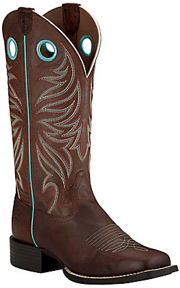 Ariat Round Up Ryder Women's Sassy Brown Double Welt Square Toe Western Boots