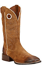 Ariat Sport Rider Men's Antique Mocha Suede Double Welt Square Toe Western Boots