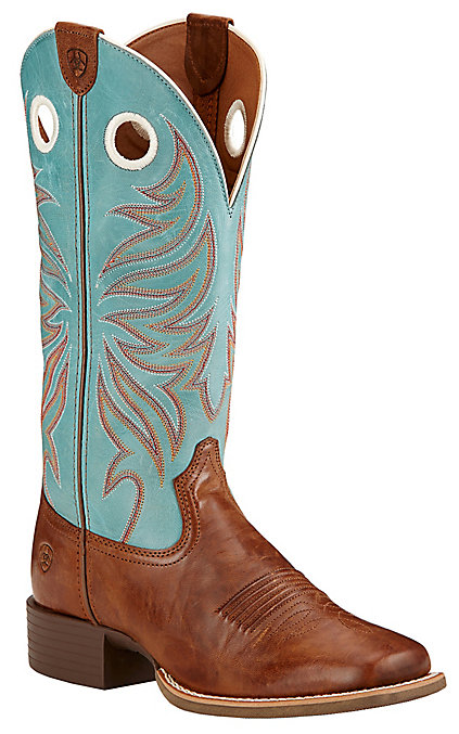 8d264fc5834 Ariat Round Up Ryder Women's Wood Brown with Sky Blue Double Welt Square  Toe Western Boots
