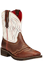 Ariat Ranchbay II Women's Pecan with White Crackle Top Square Toe Western Boots