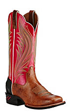 Ariat Women's Brown with Coral Upper Western Square Toe Boots