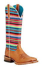 Ariat Tan Lizard Print with Gringa Sarape Print Stripped Upper Western Square Toe Boots