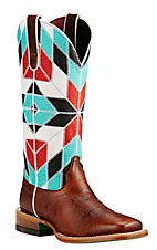 XKH Ariat Women's Brown with Turquoise, Red, White, and Black Multi Pattern Western Wide Square Toe Boots
