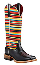Ariat Black with Gringa Sarape Print Stripped Upper Western Square Toe Boots