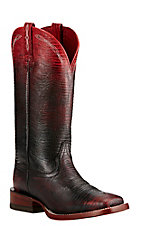 Ariat Women's Red and Black Ombre Lizard Print Western Square Toe Boots