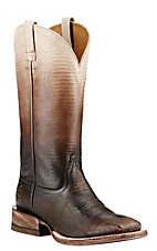 Ariat Women's Chocolate and White Ombre Lizard Print Western Square Toe Boots