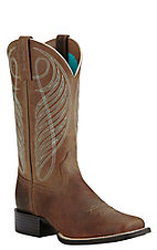 Ariat Women's Powder Brown Round Up Square Toe Western Boots