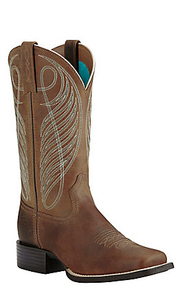 Ariat Women's Powder Brown Round Up Wide Square Toe Western Boots