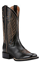 Ariat Women's Black Round Up Wide Square Toe Western Boots