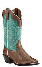 Ariat Women's Brown with Aqua Upper Round Up Wide Square Toe Western Boots