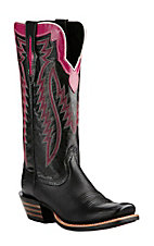 Ariat Women's Black with Pink Detailing and Embroidery Western Cutter Toe Boots