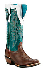Ariat Women's Brown Lizard Print Foot with Turquoise Upper Square Cutter Toe Western Boots
