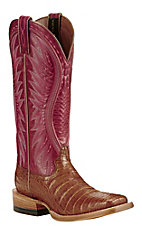 Ariat Women's Tan with Red Upper Exotic Caiman Leather Western Wide Square Toe Boots