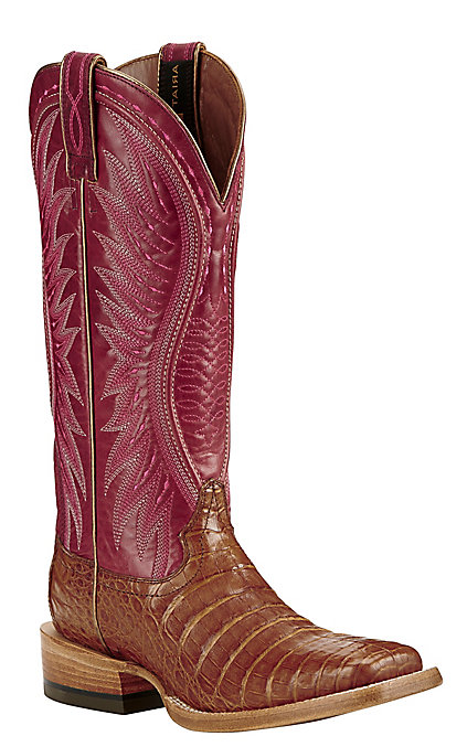 b63357766af Ariat Women's Tan with Red Upper Exotic Caiman Leather Western Wide Square  Toe Boots