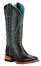 Ariat Women's Black with Turquoise Embroidery Exotic Caiman Leather Western Square Toe Boots