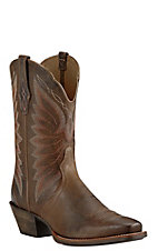 Ariat Womens Brown with Cream Embroidery Western Punchy Toe Boots